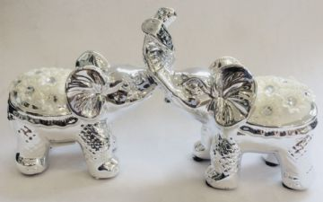 Silver Floral Diamante Elephants Truck Up PLAYFUL COUPLE Figurine Ornament 12cm Tall LP41864